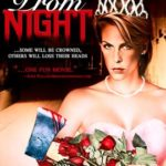 Prom Night Movie Cover. Jamie Lee Curtis sitting in pink prom dress and crown holding a bouquet of red roses and a bloody axe