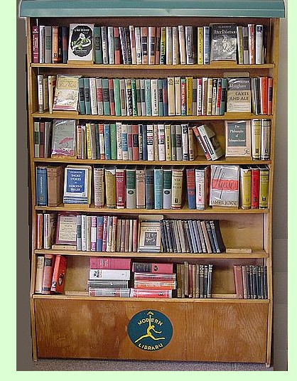 A classic bookshelf picture with the Modern Library logo at the bottom.