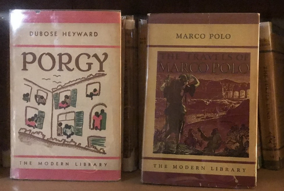 The Porgy cover uses pink border ink and an cute illustration of windows of an apartment building. Next to it sits Marco Polo cover with a illustrated image with great detail.