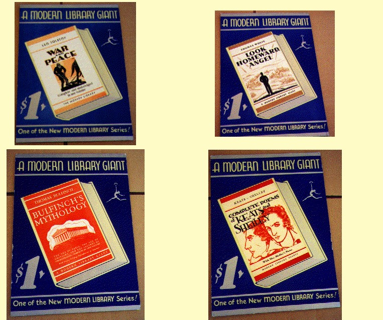 Four posters shown for sale for $1. Blue background, Modern Library listed on the top, a illustration picture of the book on a angle.