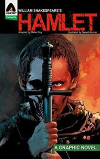 Hamlet Cover Illustration of Hamlet holding up a sword to his face. It divides his face, on one side its a dark, gray, and blue with a skull shadow on the other bright orange as in the hell's flames.