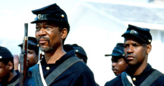 Image from the movie Glory, showing soldiers played by Morgan Freeman and Denzel Washington