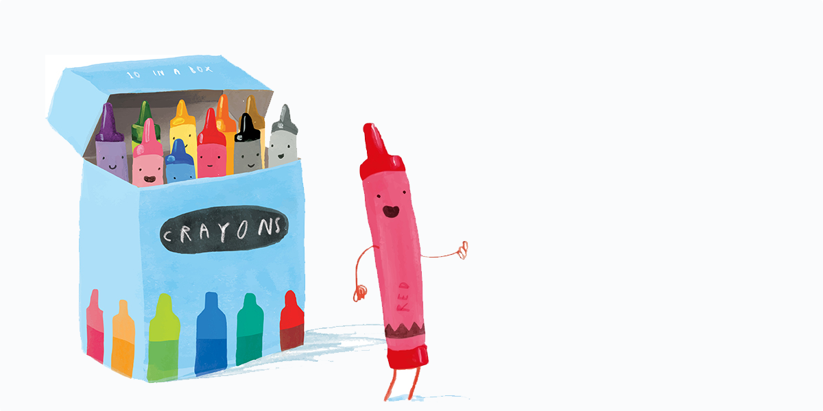 Illustrated crayon is box