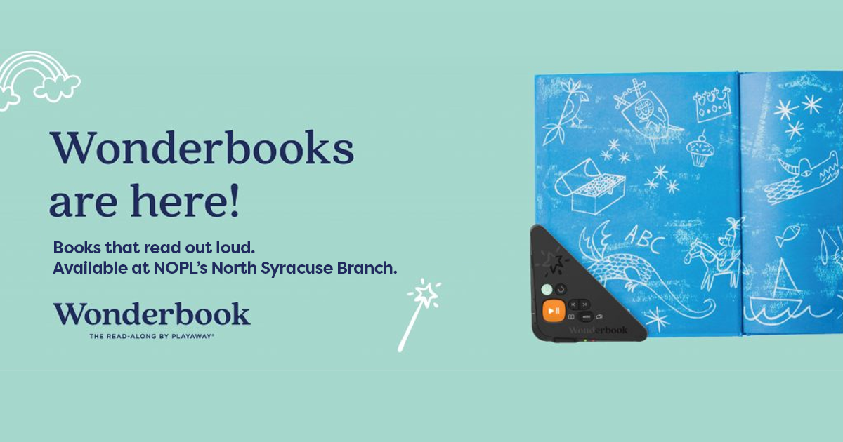 Wonderbook available at NOPL's N. Syracuse Branch. Books that read out loud.