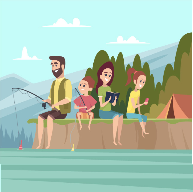 An illustration of a family fishing